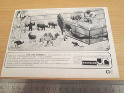 Page De Revue Des Années 60/70 : PUBLICITE FIGURINES MINIATURE BRITAINS LE ZOO  Dimensions : 1/2  PAGE A4 - Figurines