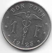 *belguim 1 Franc   1923 French   Vf+ - 1909-1934: Albert I