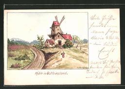 CPA Illustrateur Handgemalt: Mühle In Ostfriesland - Illustratoren & Fotografen
