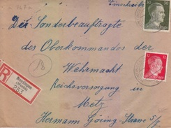 Lettre Rec. De Montois La Montagn (T329 Montingen Westmark A) TP Reich (12+30pf=1°éch) Le 27/6/44 étiq Montingen (Westm) - Marcofilia (sobres)