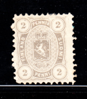 Finland 1875-81 MH Scott #17 2p Coat Of Arms White Line Above E In PENNIA - 1856-1917 Administration Russe