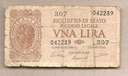"""Italia - Banconota Circolata Da 1£ """"Italia Laureata"""" P-29a - 1944 """"Ventura-Simoneschi-Giovinco"""" - [ 1] …-1946 : Kingdom"""