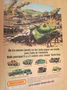Page De Revue Des Années 70/80 : PUBLICITE  MATCHBOX CHARS MODELES REDUITS SERIE BATTLE KINGS  Format  PAGE A4 - Tanks