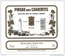Etiquette  Pineau Des Charentes  Rosé  - Sélection Plein Sud  -  JC Jacquet  à Ars Ile De Ré - Thème Phare - Labels