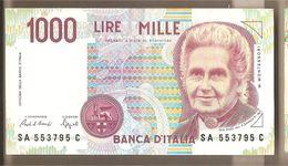 """Italia - Banconota Circolata Da 1000£ """"Montessori"""" P-114a.1 - 1990 """"Lettera A"""" - [ 2] 1946-… : République"""