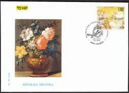 Croatia Zagreb 2000 / Ivan Ranger, 300th Birth Ann. / Painter, Flovers / Paintbrushes / FDC - Croatia