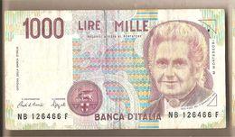 """Italia - Banconota Circolata Da 1000£ """"Montessori"""" - 1991 """"Lettera B"""" - [ 2] 1946-… : République"""