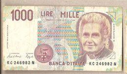 """Italia - Banconota Circolata Da 1000£ """"Montessori"""" - 1993 """"Lettera C"""" - [ 2] 1946-… : République"""