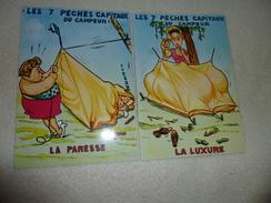 2 ILLUSTRATIONS LES 7 PECHES CAPITAUX DU CAMPEUR ..LA PARESSE ET LA LUXURE..SIGNE CABROL ? - Humor