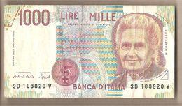 """Italia - Banconota Circolata Da 1000£ """"Montessori"""" P-114b - 1994 """"Lettera D"""" - [ 2] 1946-… : République"""