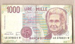 """Italia - Banconota Circolata Da 1000£ """"Montessori"""" P-114c.1 - 1995 """"Lettera E"""" - [ 2] 1946-… : République"""