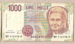 """Italia - Banconota Circolata Da 1000£ """"Montessori"""" P-114c.2 - 1996 """"Lettera F"""" - [ 2] 1946-… : République"""