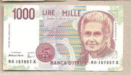 """Italia - Banconota Circolata Da 1000£ """"Montessori"""" - 1998 """"Lettera H"""" - [ 2] 1946-… : Républic"""