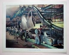 GRAVURE PEDAGOGIQUE OCTOBRE 1956 -  27 X 21 - LE PROGRES DES TECHNIQUES - Automobile - Chaine De Montage Chez SIMCA - Sciences