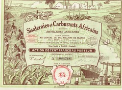 Action Ancienne - Sisaleraies Et Carburants Africains - Titre De 1928 - Déco - Afrique