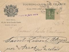 """SEMEUSE N°130 Perforé """" TC """" TOURING CLUB """" Seine SEUL Sur Lettre à En-tête Illustrée Obl 31/1/20 - TC17 - TB - Rotary, Club Leones"""