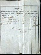 28 CHARTRES FACTURE DEBUT 19° CHIFFER MARCHAND MERCIER RUE DES CHANGES 24 FEVRIER 1822 - Petits Métiers