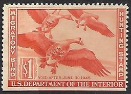 US 1944   RW11  $1  Duck  Hunting Stamp MNG   2016 Scott Value $40 - Duck Stamps