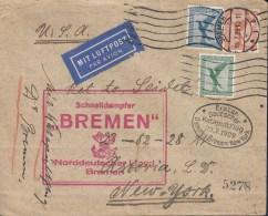 """Schiffspost 1.Katapultflug Vom Dampfer """"BREMEN"""" 22.7.929, Bremen 15.7. Nach New York - Airmail"""