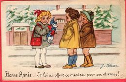 CPSM Signé IDRAC  Bonne Année Je Lui Ai Offert Ce Manteau Pour Ces étrennes  * Format Cpa Illustrateur Enfants - Autres Illustrateurs