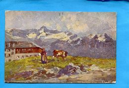 Illustrateur-ZAMBELETTI-Italie---alpage -zermatt-riffelberg-années 1900-10 - Illustrateurs & Photographes