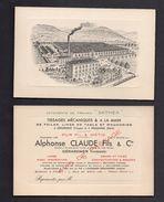 CP1599 UN AVIS DE PASSAGE TISSAGE MECANIQUES GERARDMER VOSGES VETEMENT SATHEX - Vieux Papiers