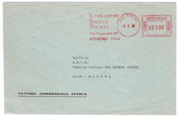 """AO12     EMA, Red Meter - """"Lavorazione Sociale Vinacce"""" Modena 1987 - Affrancature Meccaniche Rosse (EMA)"""