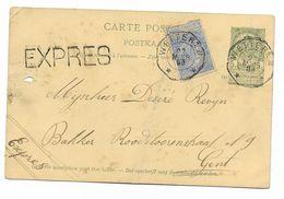 EXPRES * WETTEREN * 27. 3. 1898 Naar Gent Op Postwaarde/entier 5 Ct.  Klasseergaatje Links - 1893-1900 Schmaler Bart