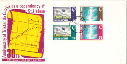 Tristan Da Cunha FDC 11-11-1968 Complete Set Of 4  30th Anniversary As Dependency Of St Helena With Cachet - Tristan Da Cunha