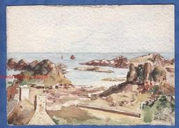 Peinture Ancienne - Aquarelle - Ile De BREHAT - Peintre Anonyme - Cotes D' Armor Bretagne Ploubazlanec Paimpol - Watercolours