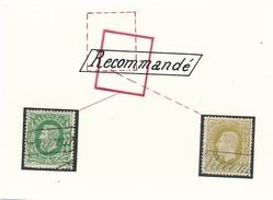 """BELGIQUE - LEOPLOD II - N°30 Et N°32 Oblitérés Par GRIFFE """" RECOMMANDÉ """" - 1869-1883 Leopold II"""