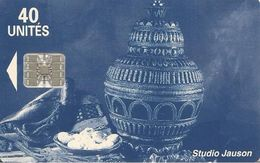CARTE+PUCE-MAROC-40U-SC7-POTERIE BLEUE-V° Téleboutique-V°PHONE CARDS AV DU 20 AOUT AGADIR-UTIL-TBE - Maroc