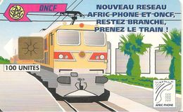 CARTE+PUCE-MAROC-AFRIC PHONE-ONCF-GEM-100 U-TRAIN-UTILISE-TBE - Morocco