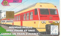 CARTE+PUCE-MAROC-AFRIC PHONE-ONCF-GEM-200 U-TRAIN-UTILISE-TBE - Maroc