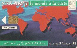 CARTE+PUCE-MAROC-AFRIC PHONE-ONCF-GEM-40U- PLANISPHERE-UTILISE-TB - Maroc