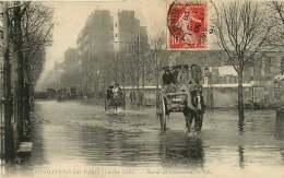 75 PARIS INONDATIONS ( Janvier 1910) Erreur Affranchissement Composté Le 1/02/1909 ????? Rue De La Convention - Inondations De 1910