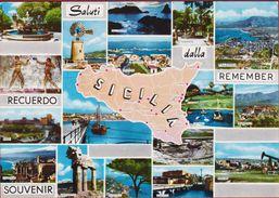 Grote Kaart Grand Format Sicilie Sicilia 1964 Italia Italy Italie - Unclassified