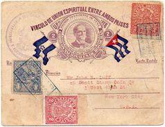 HONDURAS 1929 - First Flight TELA - MIAMI By Registered On A Commemorative Postal Card - Honduras