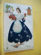 B14 2699 CPSM PM BRODEE - JEUNE FEMME DE VALENCIA (ESPAGNE) PAR ELOI GUMIER (+ DE 20.000 CARTES MOINS DE 1 €) - Bordados