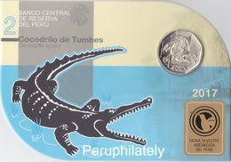 PERU 2017 , FAUNA CROCODILE , COIN ON CARD , MINT - Peru