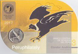 PERU 2017 , FAUNA BIRD CONDOR , COIN ON CARD , MINT - Peru