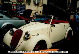 PHOTO 15/10 CM.. SIMCA TYPE -8-CABRIOLET 2+2 ..1949..     DOS VIERGE - Automobiles