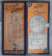 CARTE GEOGRAPHIQUE Michelin - N° 52 LE HAVRE / AMIENS - 1946 (vente Exclusive Belgique Grand Duché) - Roadmaps