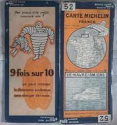CARTE GEOGRAPHIQUE Michelin - N° 52 LE HAVRE / AMIENS - N° 2928-412 - Roadmaps