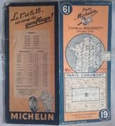 CARTE GÉOGRAPHIQUE Michelin - N° 61 - PARIS / CHAUMONT - 1946 - Roadmaps