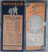 CARTE GÉOGRAPHIQUE Michelin - N° 63 - VANNES / ANGERS  - 1948 - Roadmaps