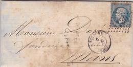 LAC De Vendôme (41) Pour Le Mans (72) - 6 Décembre 1866 - Timbre YT22 + Ob. Losange GC 4130 - CAD Rond Type 15 - Poststempel (Briefe)
