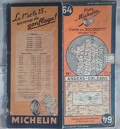 CARTE GÉOGRAPHIQUE Michelin - N° 64 - ANGERS / ORLEANS - 1946 - Roadmaps