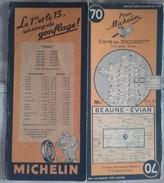 CARTE GÉOGRAPHIQUE Michelin - N° 70 - BEAUNE / EVIAN - 1946 (indication Des Ponts Détruits) - Roadmaps