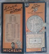 CARTE Géographique Michelin - N° 069 BOURGES - MACON 1946 (indication Des Ponts Détruits) - Roadmaps